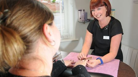 Opening of Harmony Hair and Beauty Salon in Cromer. Nicki Durrant with a customer.Picture: ANTONY KE
