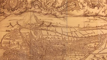 William Cunningham's Map of Norwich. Dating from 1559 this is the first ever printed city map in Eng