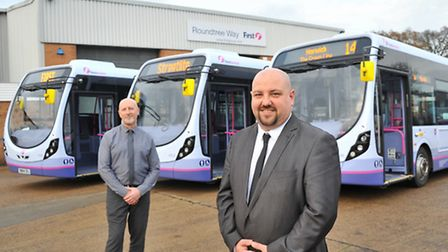 Engineering manager Mike Smith(left) and business manager Chris Speed with the First Eastern Countie