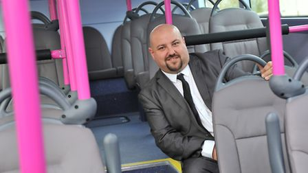Business manager Chris Speed with the First Eastern Counties brand new Micro-hybrid Streetlite buses