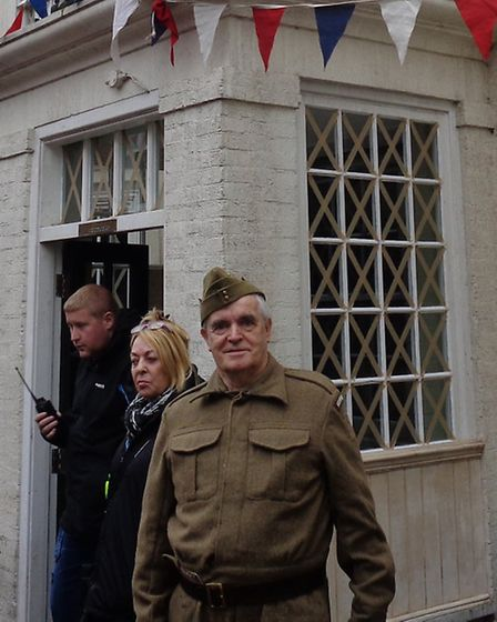 Neville Lockwood, from Thetford, on the set of the Dad's Army film in Bridlington.