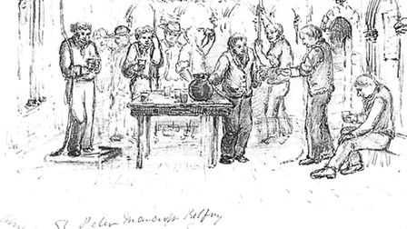 A sketch of the St Peter Mancroft ringers drinking from their jug on a New Year's Eve in 1872.