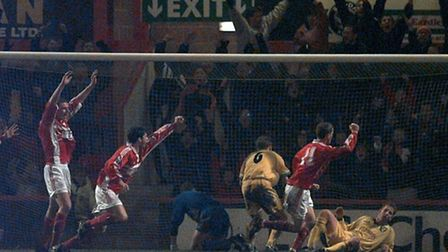 Mark Rivers scores Crewe's third goal to complete a memorable turnaround as City, under Bruce Rioch,