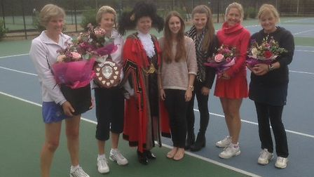 The Louise Willgrass Memorial Tournament (from left) winners Sarah Jermy and Jane Ray, Lord Mayor of