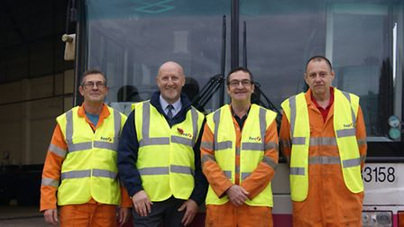 First bus mechanics celebrate 120 years' service. (L-R) Paul Jackson, First engineering manager Mik