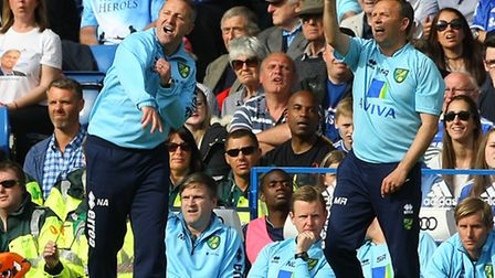 Norwich manager Neil Adams and his former first team coach Mark Robson at Chelsea in last season's P