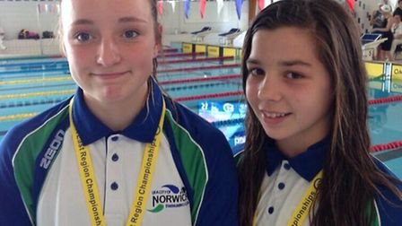 Grace Leech and Honey Harvey, young swimming champions from the Yarmouth borough