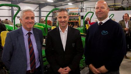 Norwich City manager Neil Adams is pictured with Robert Barnard (left) and Bawburgh general manager