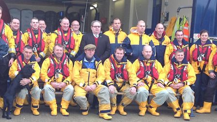 Cromer lifeboat crew in their normal mode - but they will be joining a tap dance marathon this weeke