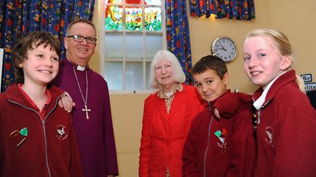 Wreningham Primary School children who helped with the design of the school's new stained glass wind