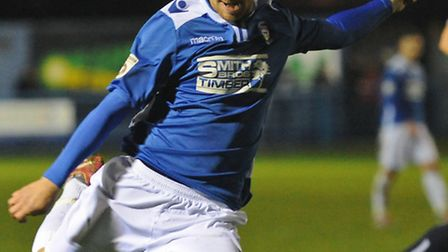 David Radomski of Lowestoft Town shoots wide late in the game during the Conference North match at N