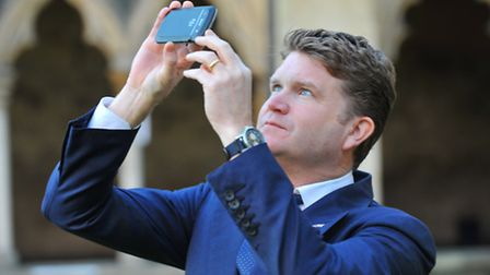 Matthew Barzun the United States Ambassador to the United Kingdom visiting Norwich Cathedral. Photo: