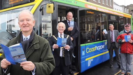 At the launch of the new Coasthopper bus service are (from left) Henry Bellingham MP, Borough Mayor