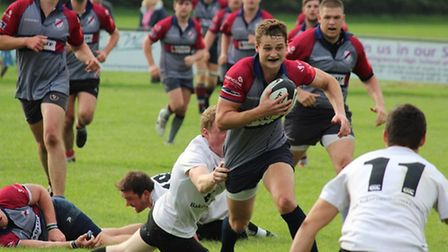 West Norfolk Rugby Club's Monty Maule on the attack.
