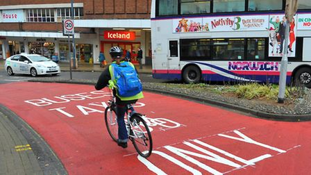 New traffic restrictions in Norwich city centre being implemented.Buses, Taxis and bicycles only on
