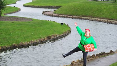 Larrissa Le Picq promoting the winter wonderland event to be held at Yarmouth Waterways.