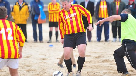 Local MP Brandon Lewis playing in a charity football match on Yarmouth beach in aid of Save Hemsby C