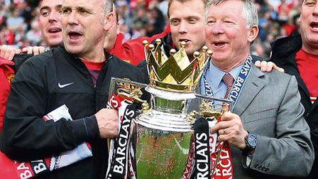 Mike Phelan (left) and manager Alex Ferguson as Manchester United celebrate with the Premier League