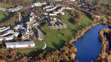 Mike Page aerial picture of the University of East Anglia campus, Norwich.