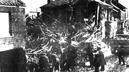 Stalham High Street in the aftermath of the bomb which killed Percy Thirst and his daughter Jean in