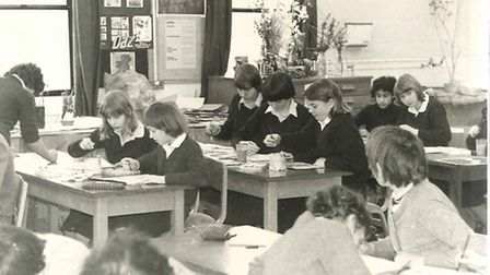 One of the earliest pictures in the Flegg archive shows youngsters in the art room engaged in their
