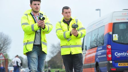 Harry Gough (left) and Adam Curtis are trying to highlight the problems with speeding outside the Ea