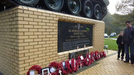 The remembrance event at the Desert Rats memorial at Mundford.Submitted