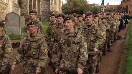 Army cadets make their way to church for Aylsham's Remembrance Day service. Picture: ALEX HURRELL