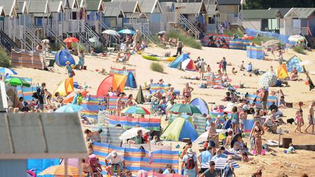 Holday makers packed the beach at Wells. Picture: Ian Burt