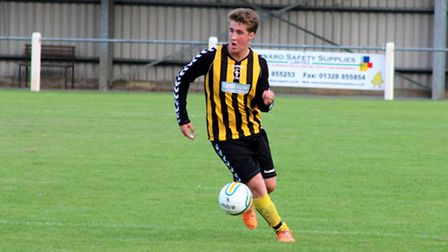 Defender Ben Calvert in action for the under-18s at Fakenham Town. Picture: TONY MILES