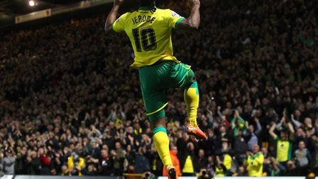 Cameron Jerome of Norwich scores his sides 1st goal and celebrates during the Sky Bet Championship m