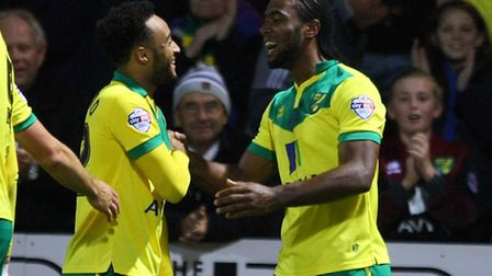 Cameron Jerome of Norwich scores his sides 2nd goal and celebrates during the Sky Bet Championship m