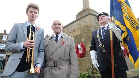 Remembrance Day service in Holt. Tom Bain who played the Last Stand at the service pictured with his
