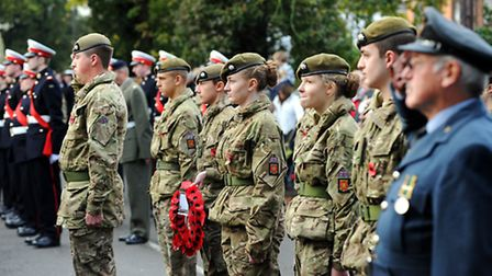 The Remembrance service at Beccles War Memorial.Picture: James Bass