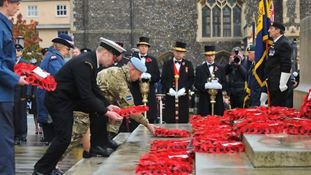 Norwich Remembrance Sunday service and parade at the war memorial outside City Hall. Photo : Steve A