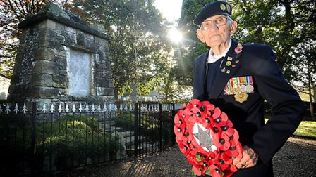 Former soldier Bill Lee, 91, pictured at North Walsham war memorial.Picture: ANTONY KELLY