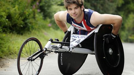 TEAM GB World Championship Wheelchair Racer Will Smith training at his home in Dereham. He has been