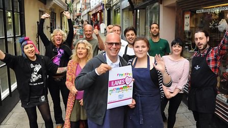 Duane Dibartolomeo, front centre, Grosvenor Fish Bar co-owner, with traders from Lower Goat Lane in