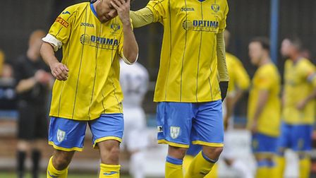 Steve Spriggs, left, and Jake Jones are two of three Linnets' players who are suspended this afterno