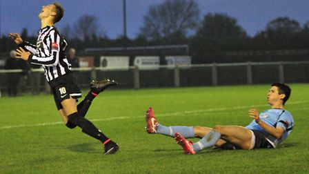 Action from Dereham Town's FA Trophy win over Enfield Town. Picture: LEE MCCARTHY