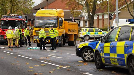 Police and fire crews at the scene of the accident between a lorry and a cyclist at the Avenues junc