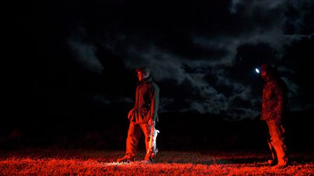 G.B. ENGLAND. Holkham Estate. North Norfolk. Gamekeepers out lamping for rabbit.