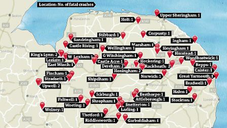 Location of fatal crashes across Norfolk 2013 - 2014