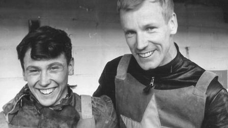 Speedway rider Trevor Hedge with 'awesome' fellow Norwich Stars favourite Ove Fundin.