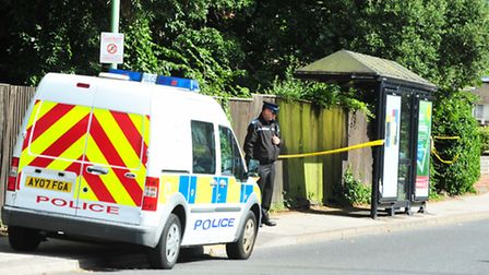 Police at the scene of an attack in London Road South, Pakefield.