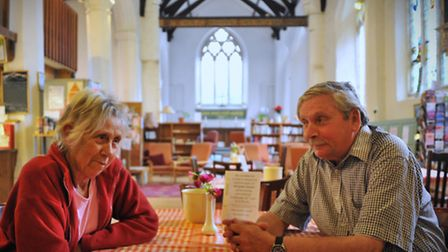 Customers at the All Saints Centre before it closed. Audrey Stannard and Albert White. Photo by Simo
