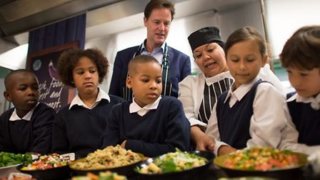 Deputy Prime Minister Nick Clegg meets pupils at Clapham Manor Primary School in south west London,