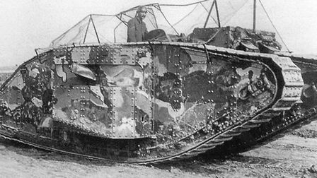Secret weapon: a camouflaged tank at Elveden bound for the Somme - and a place in military history.