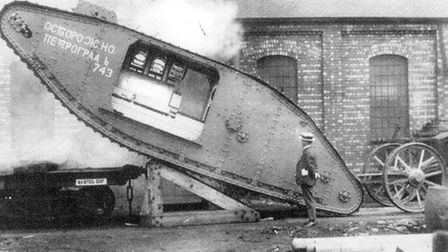 Subterfuge: a tank with Russian script and devoid of gun sponsons being loaded at Lincoln for delive