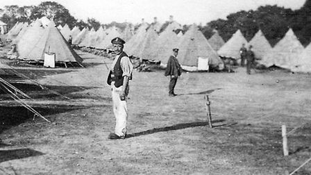 Tank encampment: part of the troops' tented accommodation at West Stow.